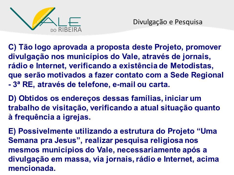 Divulgação e Pesquisa C) Tão logo aprovada a proposta deste Projeto, promover divulgação nos municípios do Vale, através de jornais, rádio e Internet,