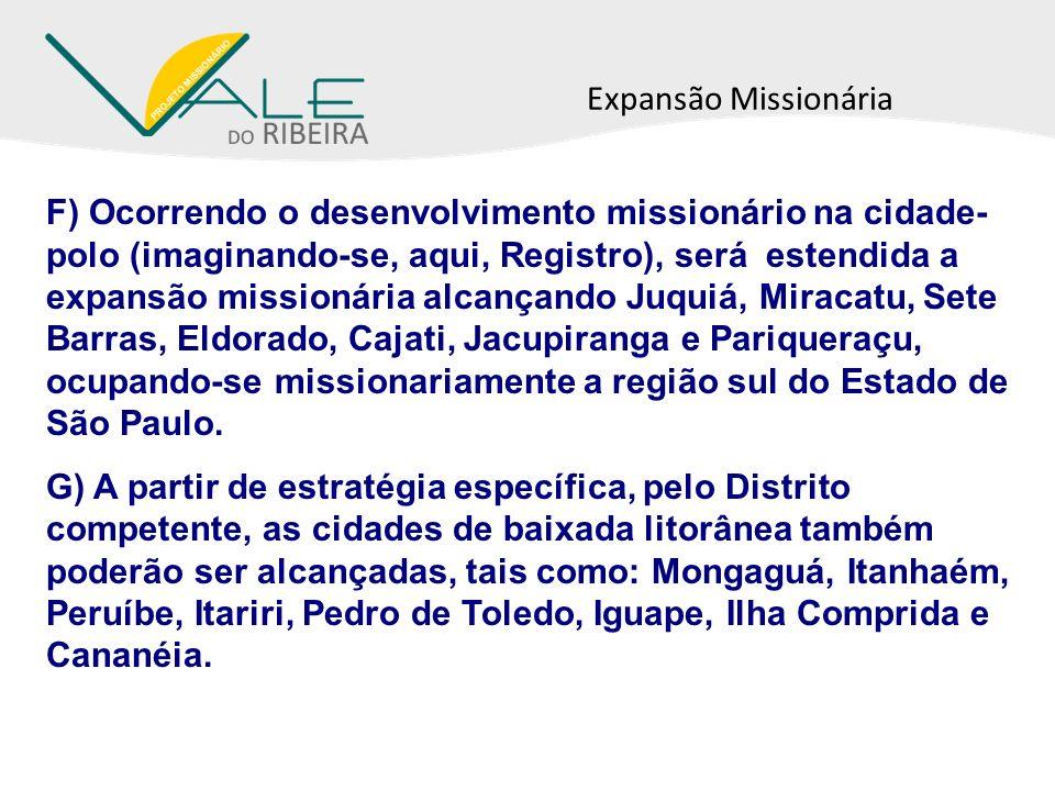 Expansão Missionária F) Ocorrendo o desenvolvimento missionário na cidade- polo (imaginando-se, aqui, Registro), será estendida a expansão missionária