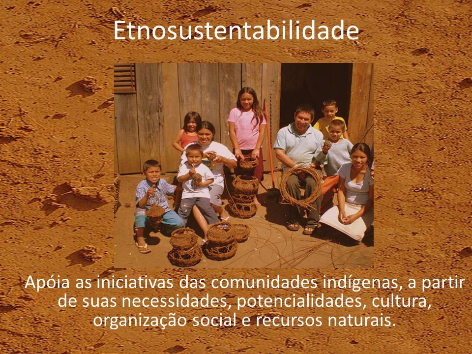 Etnosustentabilidade Apóia as iniciativas das comunidades indígenas, a partir de suas necessidades, potencialidades, cultura, organização social e rec