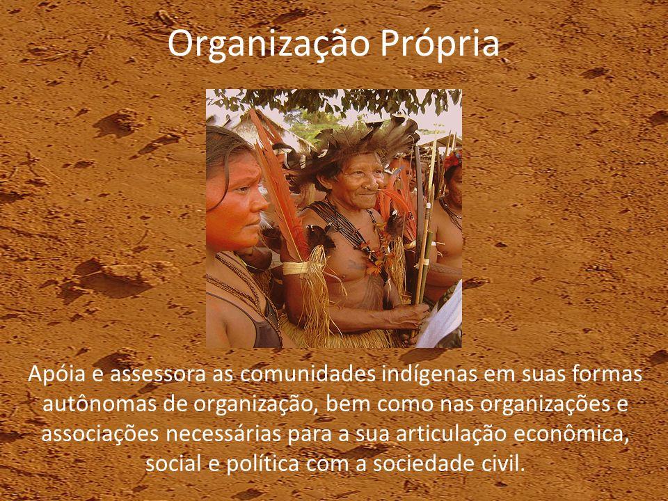 Organização Própria Apóia e assessora as comunidades indígenas em suas formas autônomas de organização, bem como nas organizações e associações necess