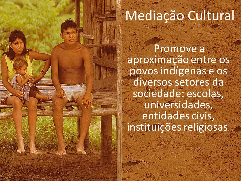 Promove a aproximação entre os povos indígenas e os diversos setores da sociedade: escolas, universidades, entidades civis, instituições religiosas. M