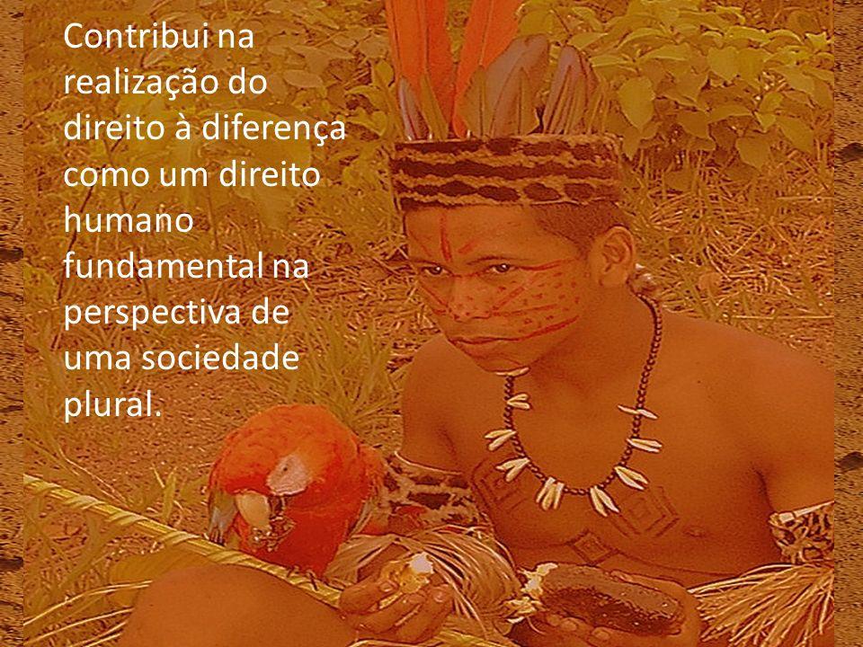 Contribui na realização do direito à diferença como um direito humano fundamental na perspectiva de uma sociedade plural.