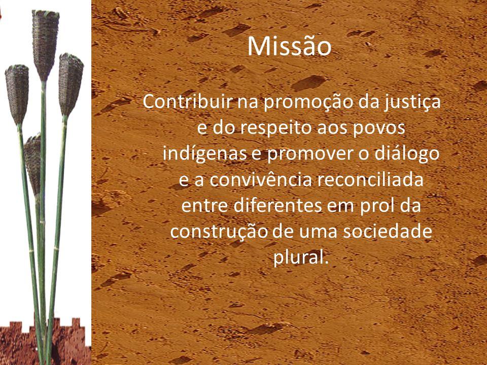 Missão Contribuir na promoção da justiça e do respeito aos povos indígenas e promover o diálogo e a convivência reconciliada entre diferentes em prol