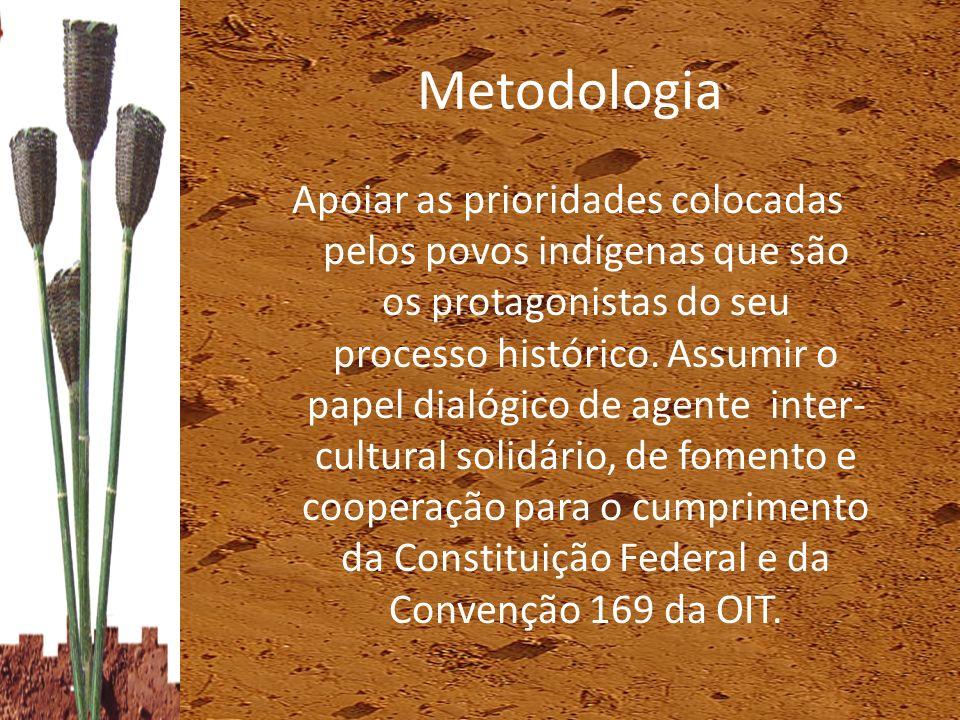 Metodologia Apoiar as prioridades colocadas pelos povos indígenas que são os protagonistas do seu processo histórico. Assumir o papel dialógico de age