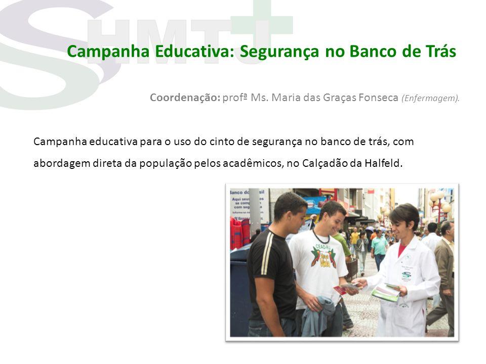 Campanha Educativa: Segurança no Banco de Trás Coordenação: profª Ms. Maria das Graças Fonseca (Enfermagem). Campanha educativa para o uso do cinto de
