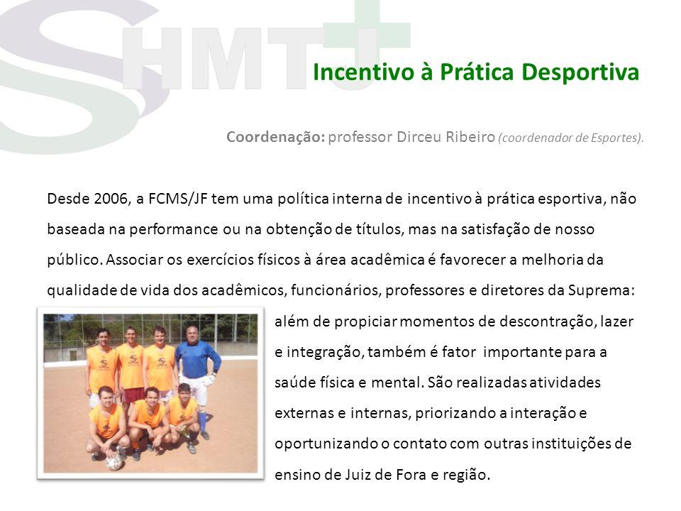 Incentivo à Prática Desportiva Coordenação: professor Dirceu Ribeiro (coordenador de Esportes). Desde 2006, a FCMS/JF tem uma política interna de ince