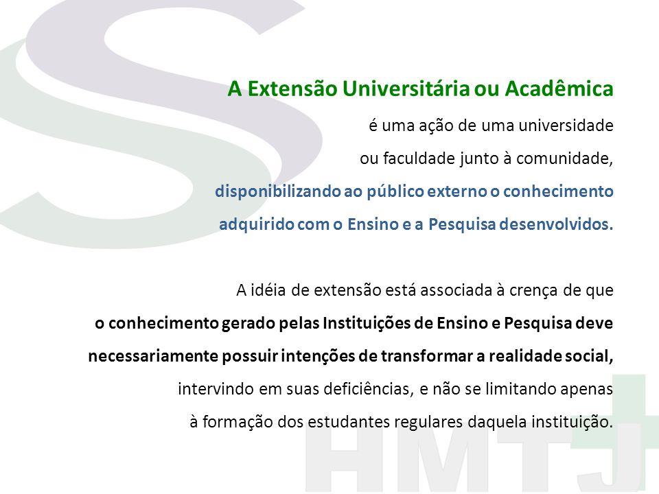A Extensão Universitária ou Acadêmica é uma ação de uma universidade ou faculdade junto à comunidade, disponibilizando ao público externo o conhecimen