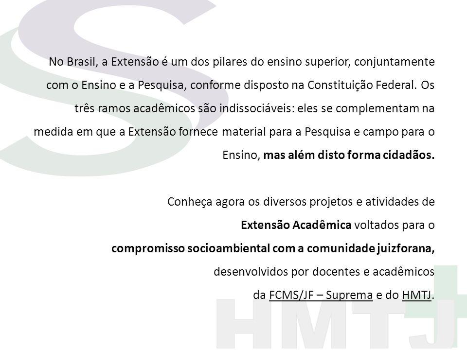 No Brasil, a Extensão é um dos pilares do ensino superior, conjuntamente com o Ensino e a Pesquisa, conforme disposto na Constituição Federal. Os três