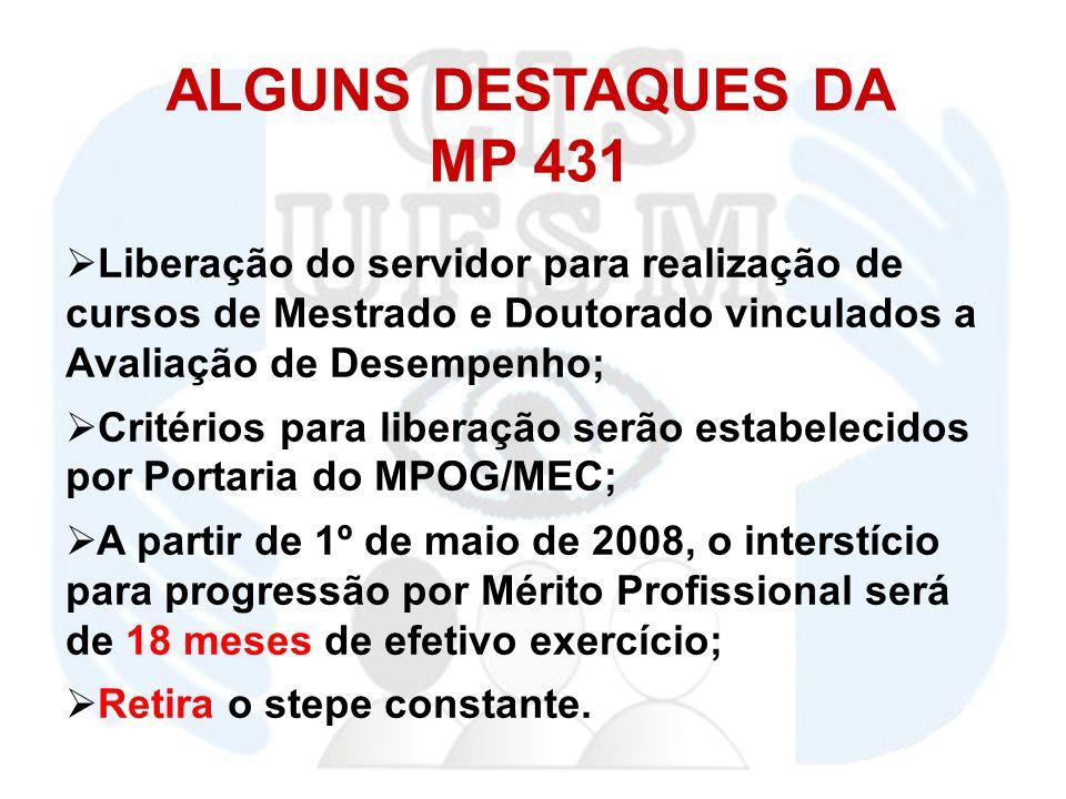ALGUNS DESTAQUES DA MP 431 Liberação do servidor para realização de cursos de Mestrado e Doutorado vinculados a Avaliação de Desempenho; Critérios para liberação serão estabelecidos por Portaria do MPOG/MEC; A partir de 1º de maio de 2008, o interstício para progressão por Mérito Profissional será de 18 meses de efetivo exercício; Retira o stepe constante.