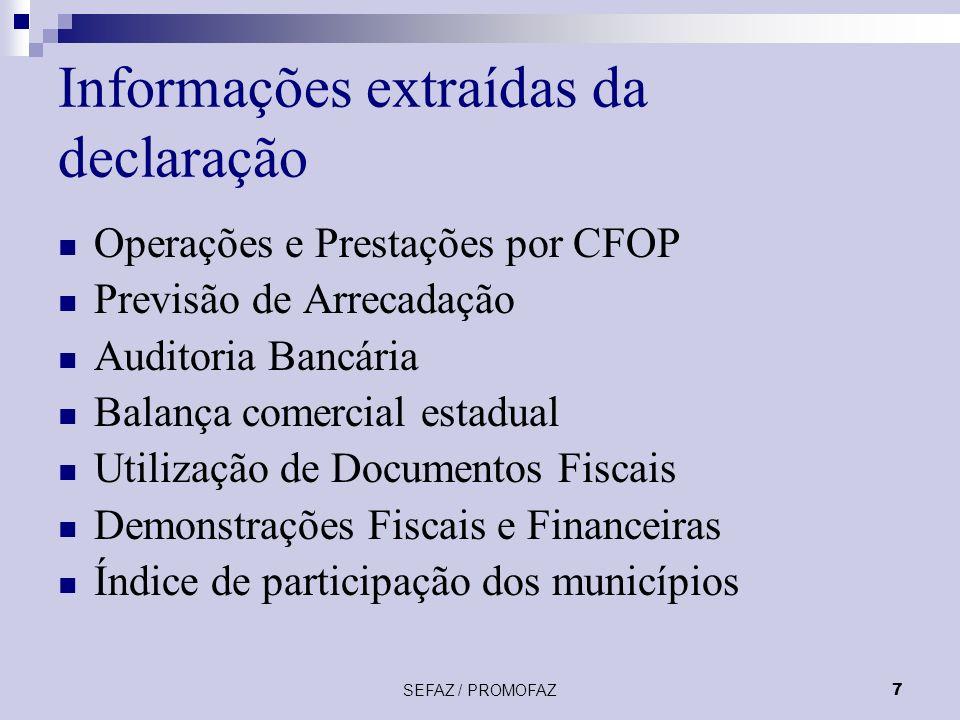 SEFAZ / PROMOFAZ7 Informações extraídas da declaração Operações e Prestações por CFOP Previsão de Arrecadação Auditoria Bancária Balança comercial estadual Utilização de Documentos Fiscais Demonstrações Fiscais e Financeiras Índice de participação dos municípios