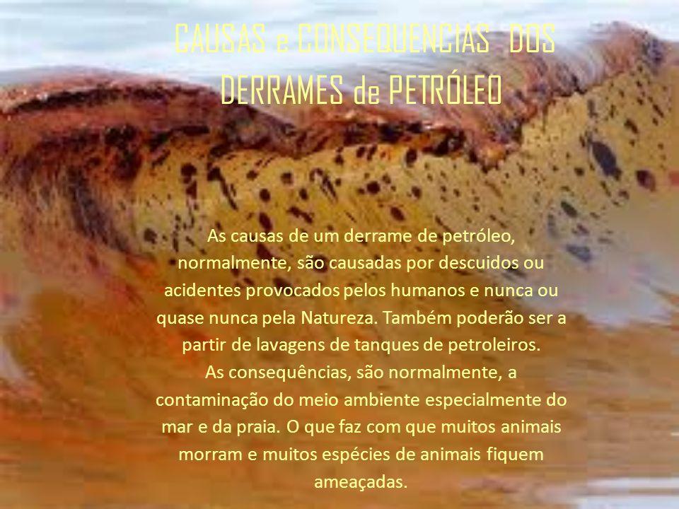 CAUSAS e CONSEQUENCIAS DOS DERRAMES de PETRÓLEO As causas de um derrame de petróleo, normalmente, são causadas por descuidos ou acidentes provocados p