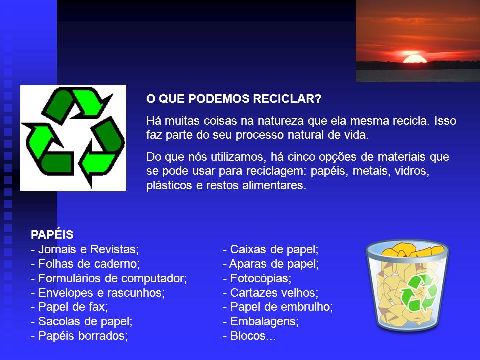O QUE PODEMOS RECICLAR.Há muitas coisas na natureza que ela mesma recicla.