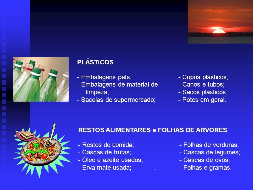 PLÁSTICOS - Embalagens pets;- Copos plásticos; - Embalagens de material de- Canos e tubos; limpeza;- Sacos plásticos; - Sacolas de supermercado;- Potes em geral.