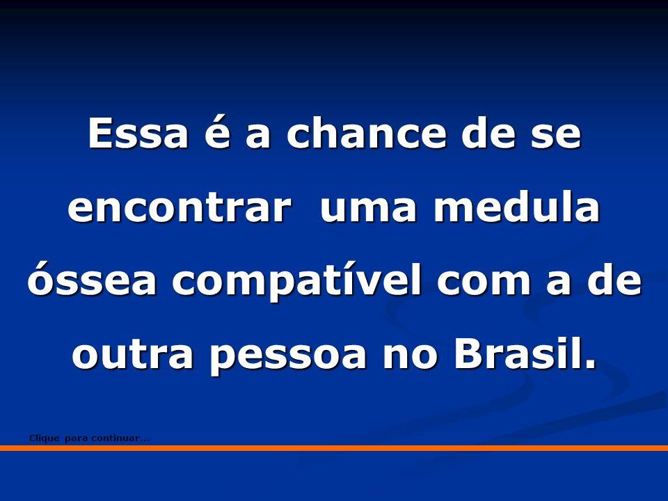 Essa é a chance de se encontrar uma medula óssea compatível com a de outra pessoa no Brasil. Clique para continuar...
