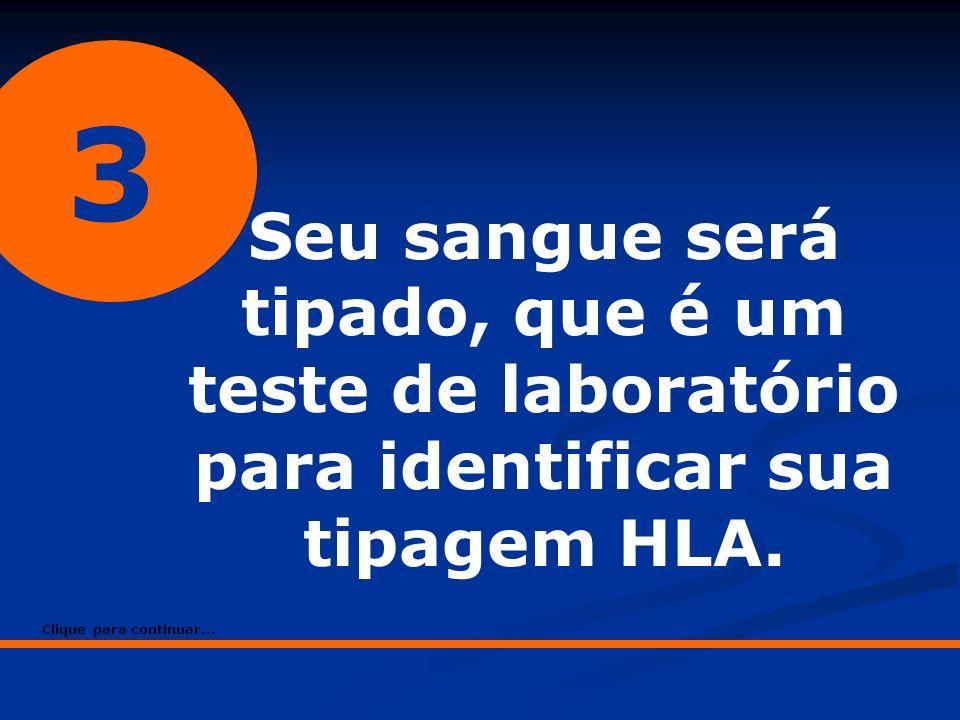 3 Seu sangue será tipado, que é um teste de laboratório para identificar sua tipagem HLA. Clique para continuar...