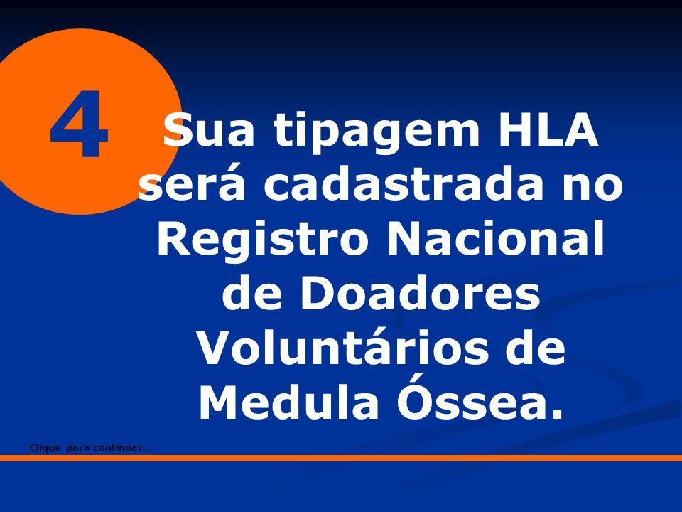4 Sua tipagem HLA será cadastrada no Registro Nacional de Doadores Voluntários de Medula Óssea. Clique para continuar...