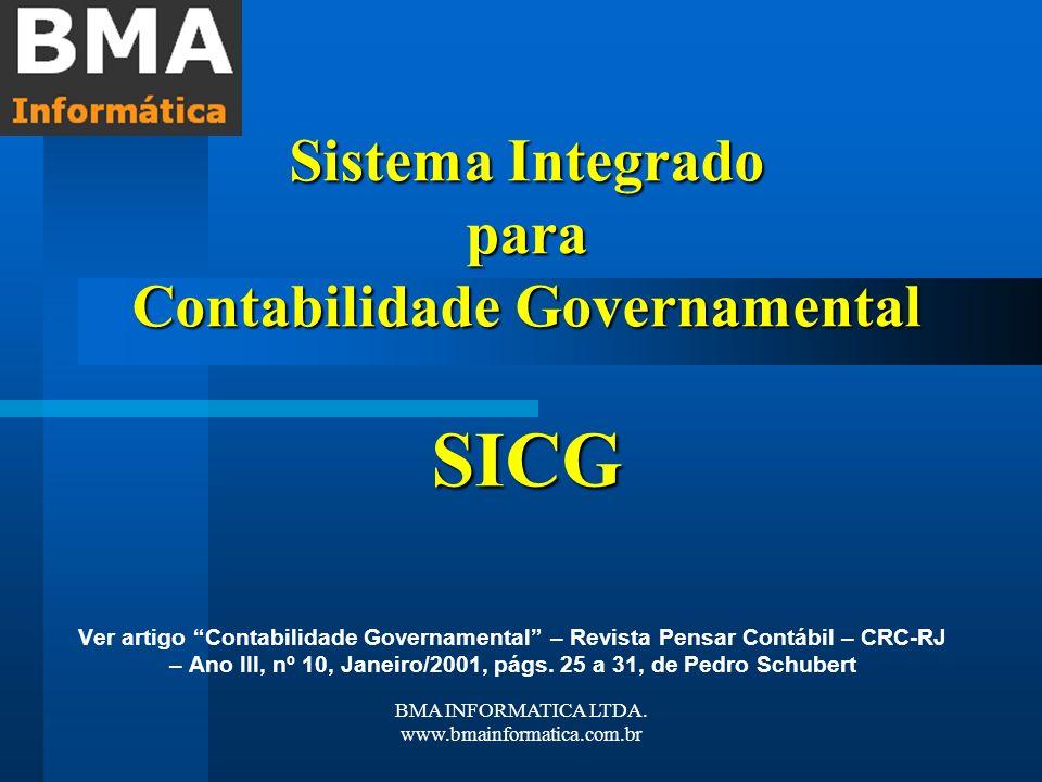 BMA INFORMATICA LTDA. www.bmainformatica.com.br Sistema Integrado para Contabilidade Governamental SICG Ver artigo Contabilidade Governamental – Revis