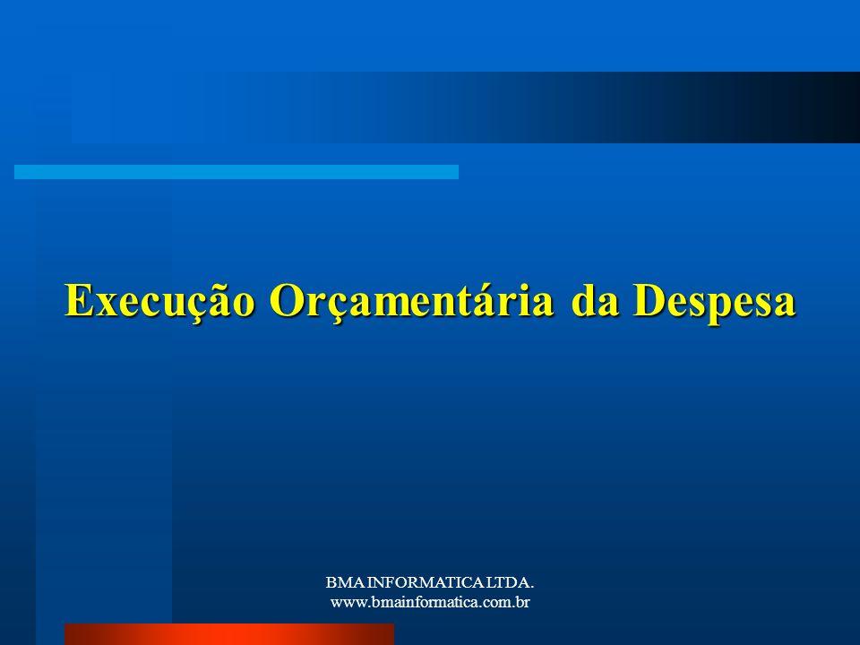BMA INFORMATICA LTDA. www.bmainformatica.com.br Execução Orçamentária da Despesa