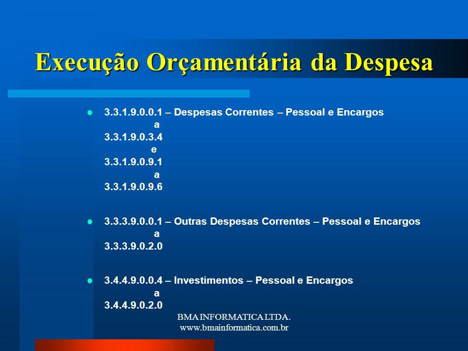 BMA INFORMATICA LTDA. www.bmainformatica.com.br Execução Orçamentária da Despesa 3.3.1.9.0.0.1 – Despesas Correntes – Pessoal e Encargos a 3.3.1.9.0.3