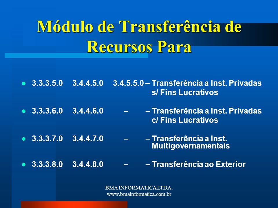 BMA INFORMATICA LTDA. www.bmainformatica.com.br Módulo de Transferência de Recursos Para 3.3.3.5.0 3.4.4.5.0 3.4.5.5.0 – Transferência a Inst. Privada