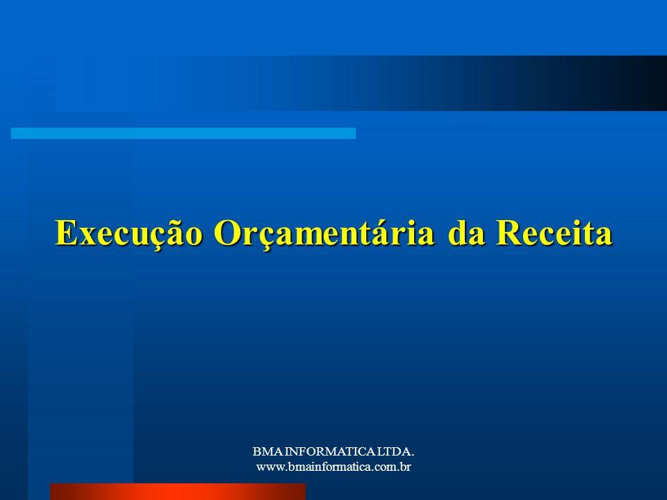 BMA INFORMATICA LTDA. www.bmainformatica.com.br Execução Orçamentária da Receita