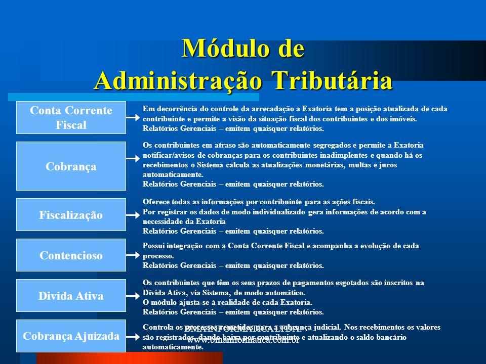 BMA INFORMATICA LTDA. www.bmainformatica.com.br Módulo de Administração Tributária Divida Ativa Em decorrência do controle da arrecadação a Exatoria t