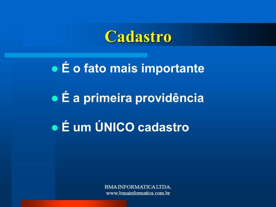 BMA INFORMATICA LTDA. www.bmainformatica.com.br Cadastro É o fato mais importante É a primeira providência É um ÚNICO cadastro