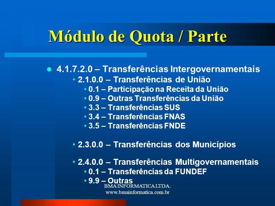 BMA INFORMATICA LTDA. www.bmainformatica.com.br Módulo de Quota / Parte 4.1.7.2.0 – Transferências Intergovernamentais 2.1.0.0 – Transferências de Uni
