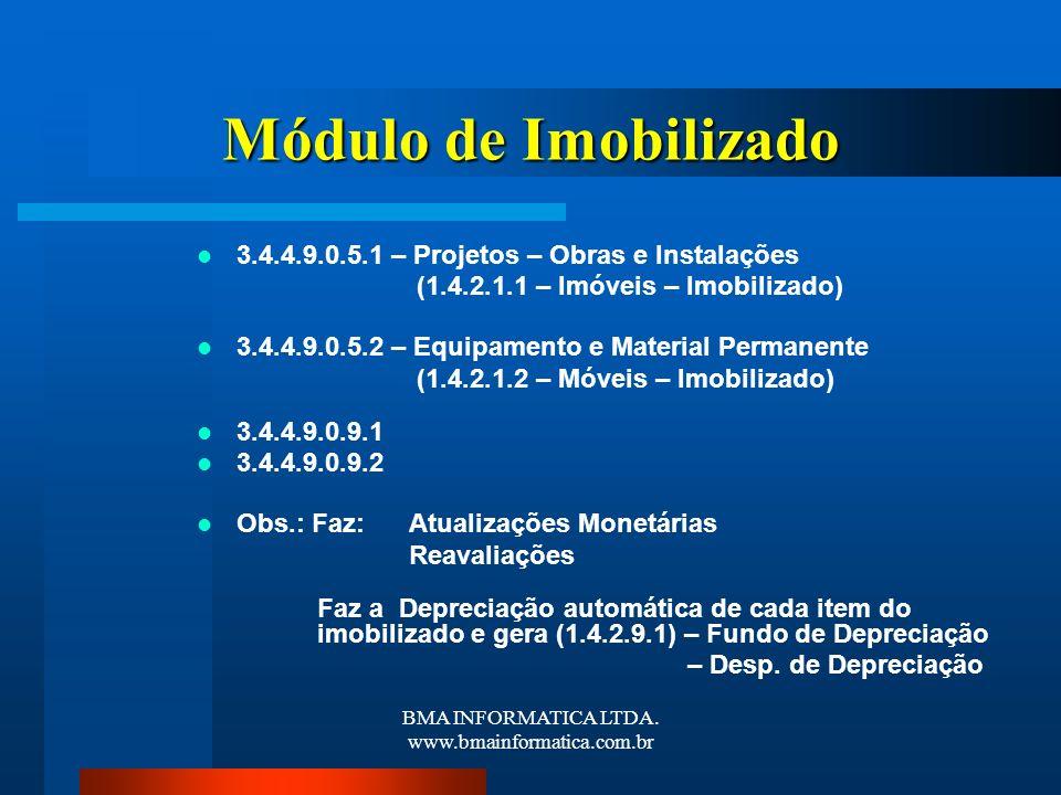 BMA INFORMATICA LTDA. www.bmainformatica.com.br Módulo de Imobilizado 3.4.4.9.0.5.1 – Projetos – Obras e Instalações (1.4.2.1.1 – Imóveis – Imobilizad