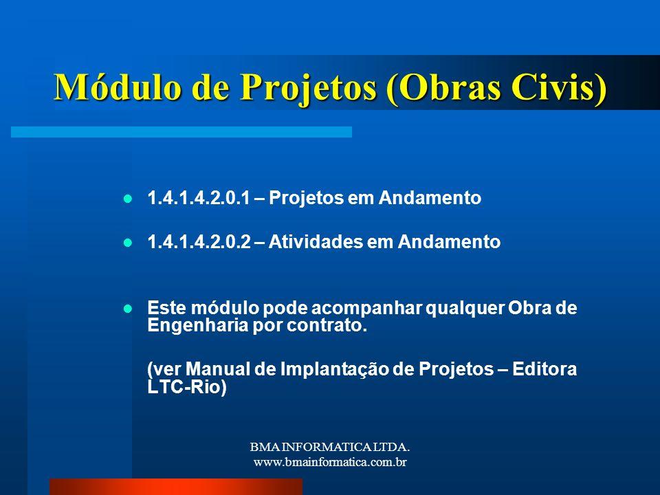 BMA INFORMATICA LTDA. www.bmainformatica.com.br Módulo de Projetos (Obras Civis) 1.4.1.4.2.0.1 – Projetos em Andamento 1.4.1.4.2.0.2 – Atividades em A