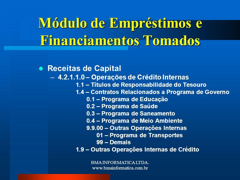 BMA INFORMATICA LTDA. www.bmainformatica.com.br Módulo de Empréstimos e Financiamentos Tomados Receitas de Capital –4.2.1.1.0 – Operações de Crédito I
