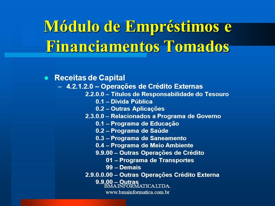 BMA INFORMATICA LTDA. www.bmainformatica.com.br Módulo de Empréstimos e Financiamentos Tomados Receitas de Capital –4.2.1.2.0 – Operações de Crédito E