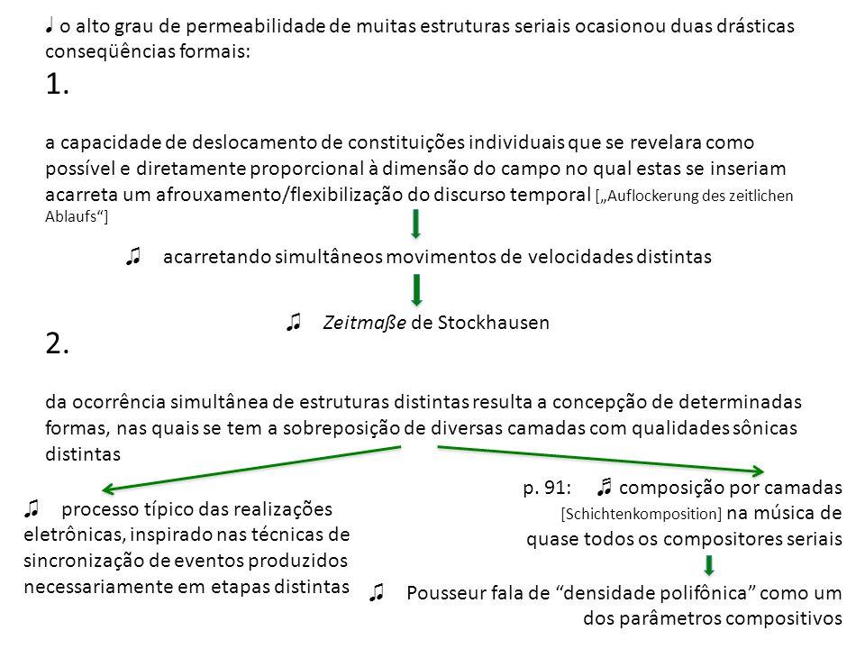 o alto grau de permeabilidade de muitas estruturas seriais ocasionou duas drásticas conseqüências formais: 1. a capacidade de deslocamento de constitu