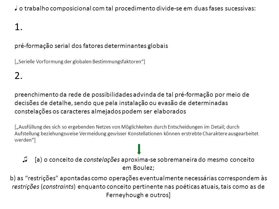 o trabalho composicional com tal procedimento divide-se em duas fases sucessivas: 1. pré-formação serial dos fatores determinantes globais [Serielle V