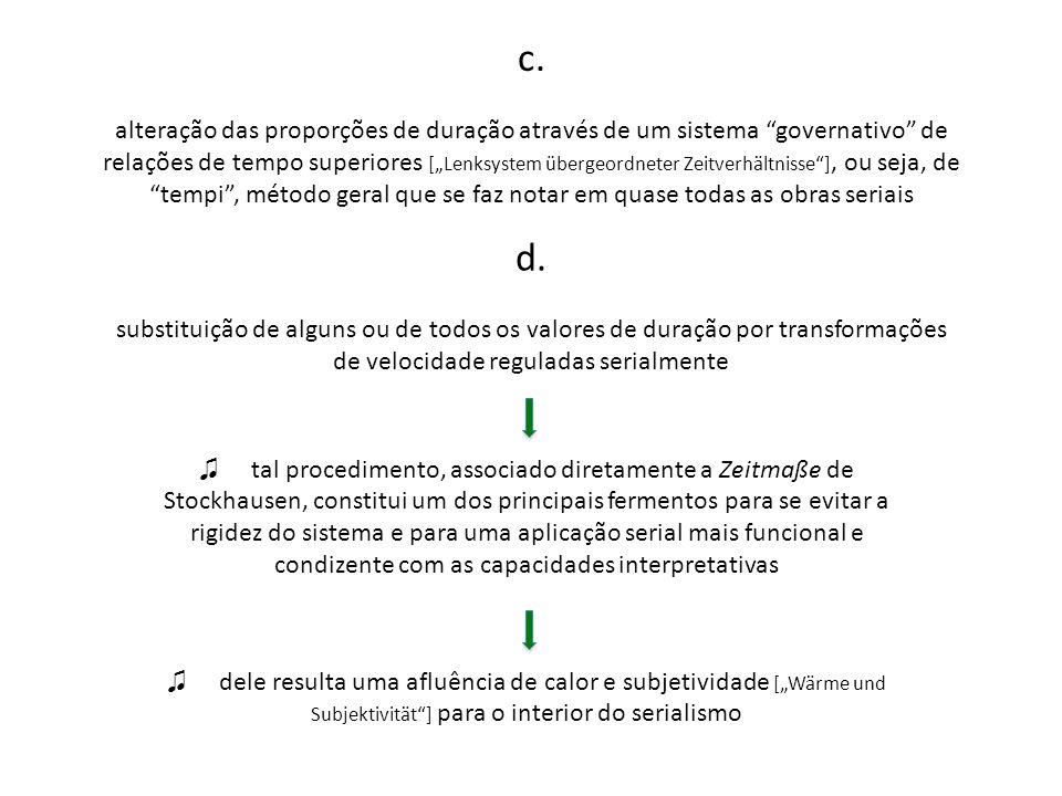 c. alteração das proporções de duração através de um sistema governativo de relações de tempo superiores [Lenksystem übergeordneter Zeitverhältnisse],