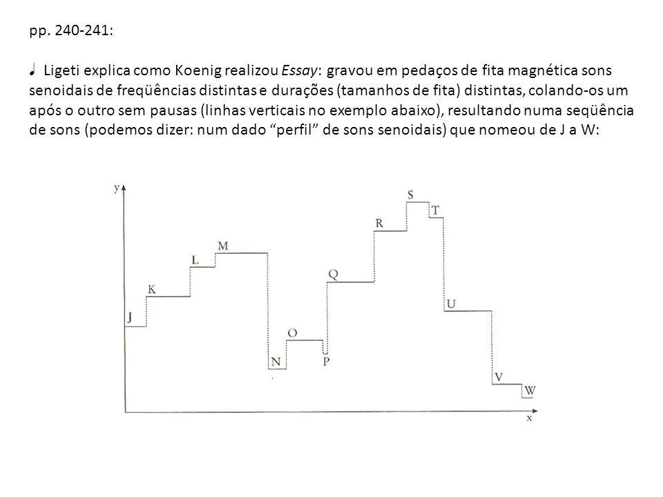 pp. 240-241: Ligeti explica como Koenig realizou Essay: gravou em pedaços de fita magnética sons senoidais de freqüências distintas e durações (tamanh