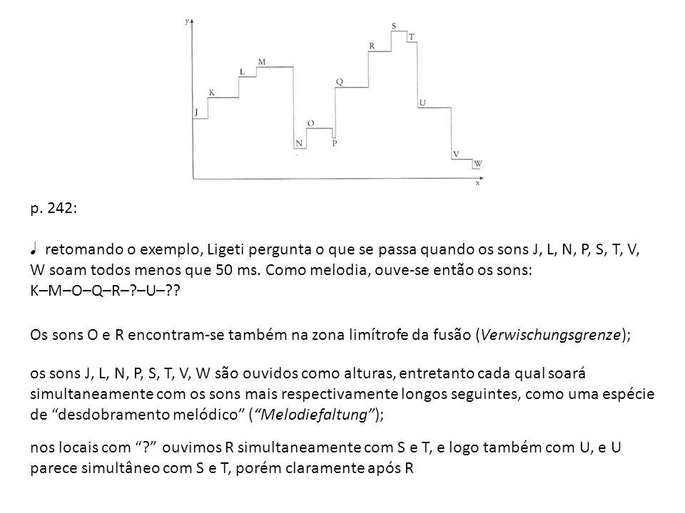 p. 242: retomando o exemplo, Ligeti pergunta o que se passa quando os sons J, L, N, P, S, T, V, W soam todos menos que 50 ms. Como melodia, ouve-se en