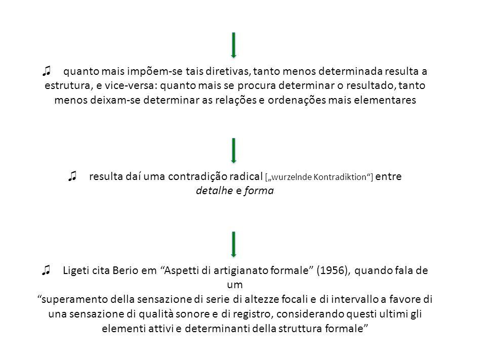 consideração sobre a obra de John Cage: insensibilização do intervalo e permeabilidade associada à coexistência caótica de acontecimentos e por vezes até mesmo de obras díspares tocadas simultaneamente a equivalência de estruturas, resultados de operações do acaso, é estreitamente relacionada à equivalência de procedimentos automáticos do primeiro serialismo [uma das primeiras manifestações a respeito das correlações entre prédeterminação serial e indeterminação pelo acaso, resumida ao final da vida de Berio como sendo a famosa coincidentia oppositorum:It is true that a systematic and fanatically numerical procedure may turn out to be analogous, in its perceptible results, to a random procedure.