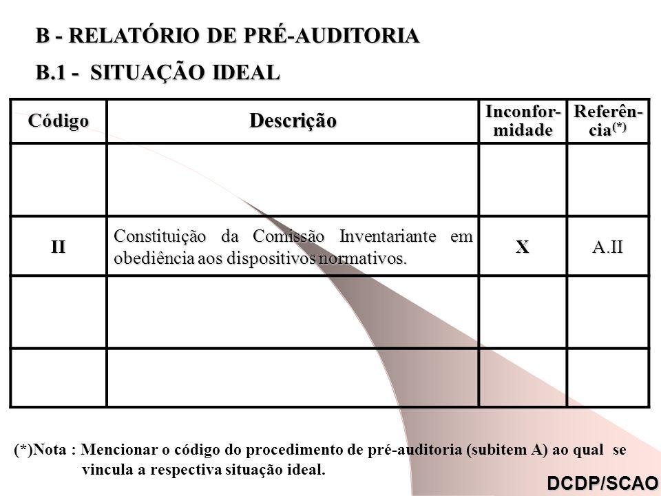 CódigoDescrição Inconfor- midade Referên- cia (*) IlgIlg II Constituição da Comissão Inventariante em obediência aos dispositivos normativos. XA.II Or