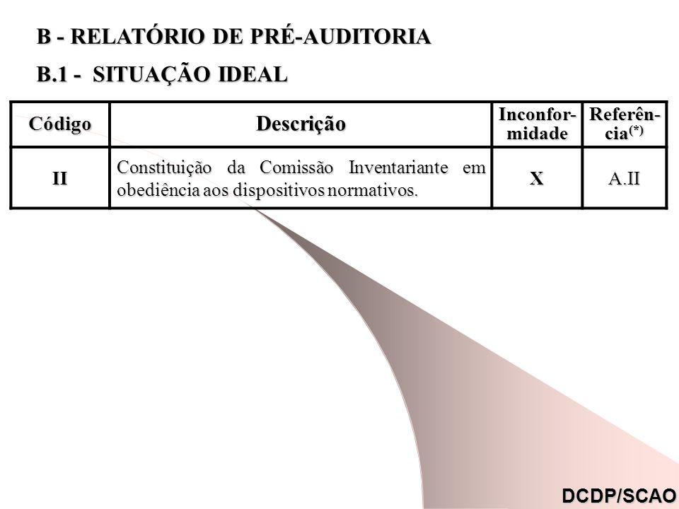 CódigoDescrição Inconfor- midade Referên- cia (*) II Constituição da Comissão Inventariante em obediência aos dispositivos normativos. XA.II DCDP/SCAO