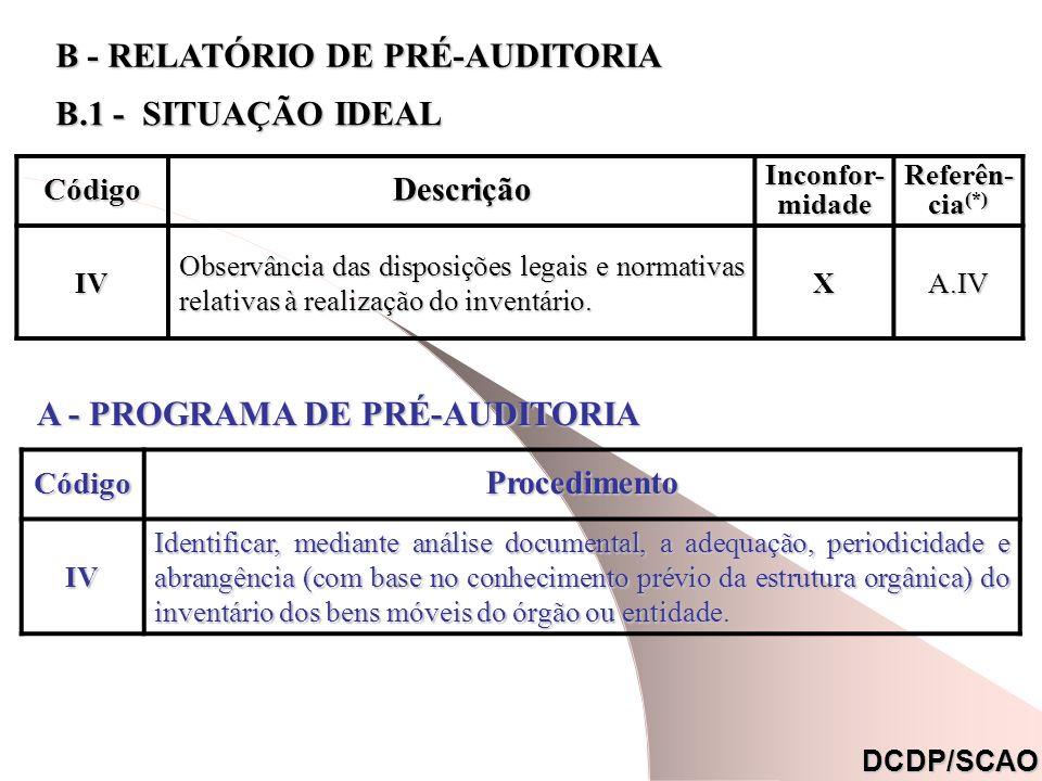 CódigoDescrição Inconfor- midade Referên- cia (*) IV Observância das disposições legais e normativas relativas à realização do inventário. XA.IV DCDP/