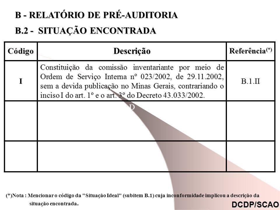 CódigoDescrição Referência (*) I Constituição da comissão inventariante por meio de Ordem de Serviço Interna nº 023/2002, de 29.11.2002, sem a devida publicação no Minas Gerais, contrariando o inciso I do art.