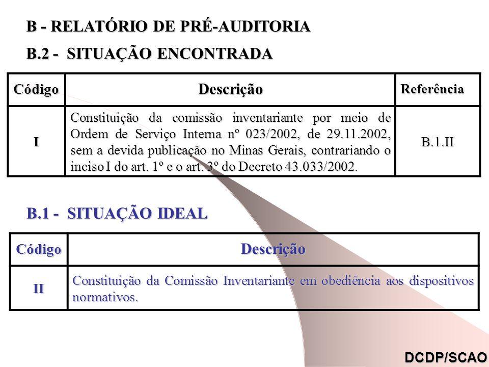CódigoDescrição Referência Referência (*) I Constituição da comissão inventariante por meio de Ordem de Serviço Interna nº 023/2002, de 29.11.2002, sem a devida publicação no Minas Gerais, contrariando o inciso I do art.