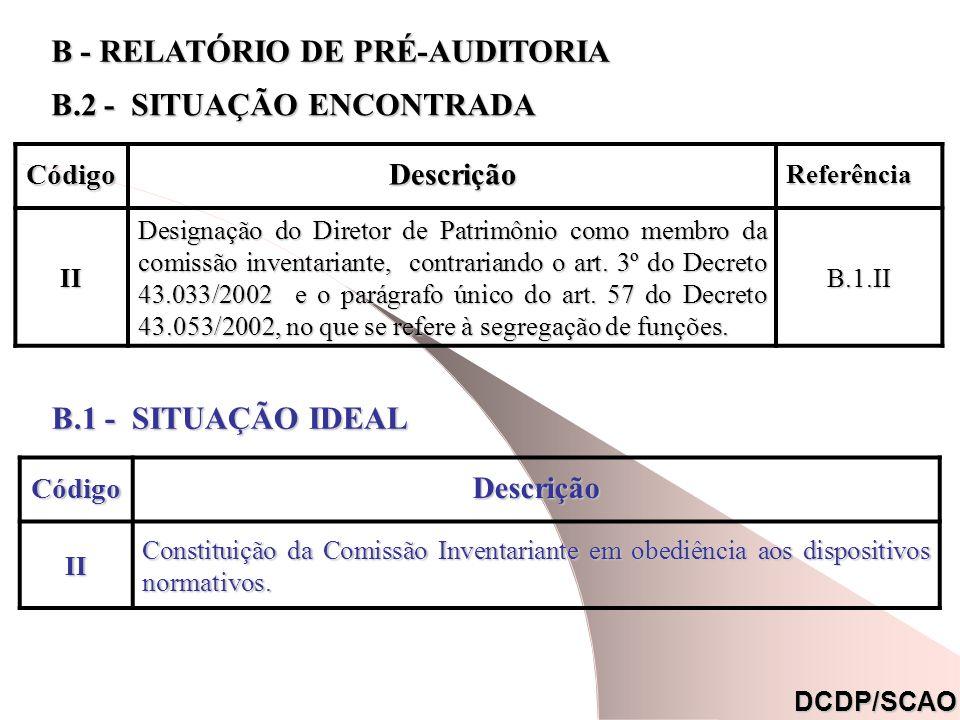 CódigoDescrição Referência Referência (*) II Designação do Diretor de Patrimônio como membro da comissão inventariante, contrariando o art. 3º do Decr