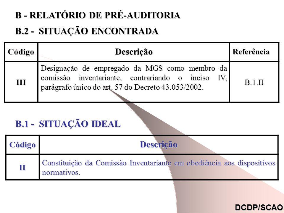 CódigoDescrição Referência Referência (*) III Designação de empregado da MGS como membro da comissão inventariante, contrariando o inciso IV, parágrafo único do art.