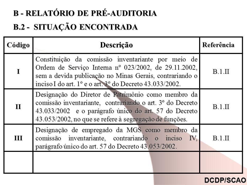 CódigoDescrição Referência Referência. I Constituição da comissão inventariante por meio de Ordem de Serviço Interna nº 023/2002, de 29.11.2002, sem a