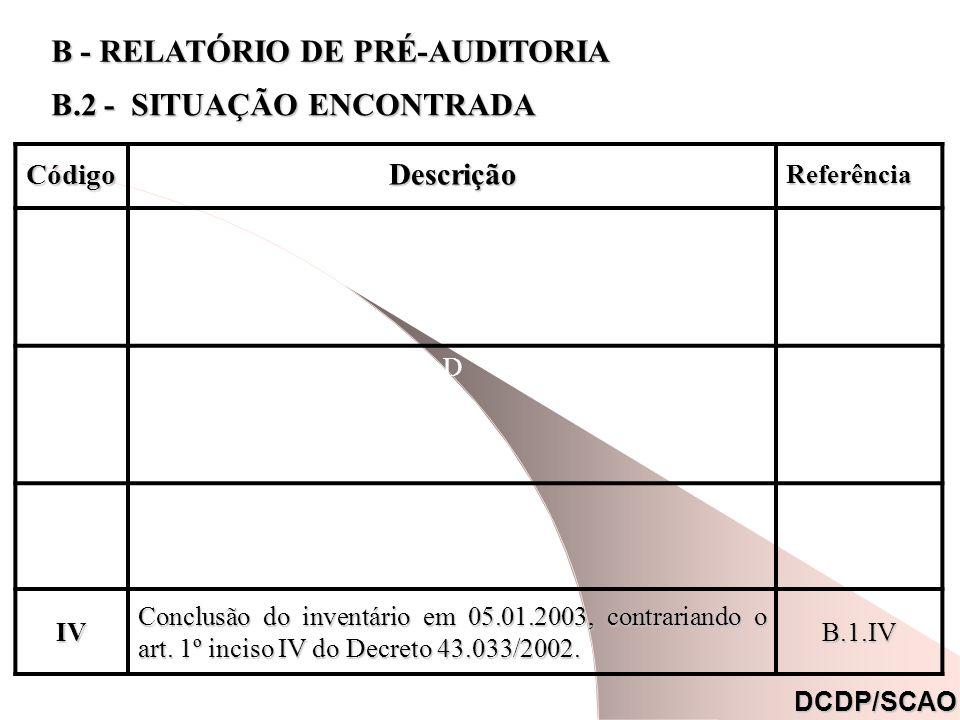 CódigoDescrição Referência Referência. COsiCOsi Dc44Dc44 DcpDcp IV Conclusão do inventário em 05.01.2003, contrariando o art. 1º inciso IV do Decreto