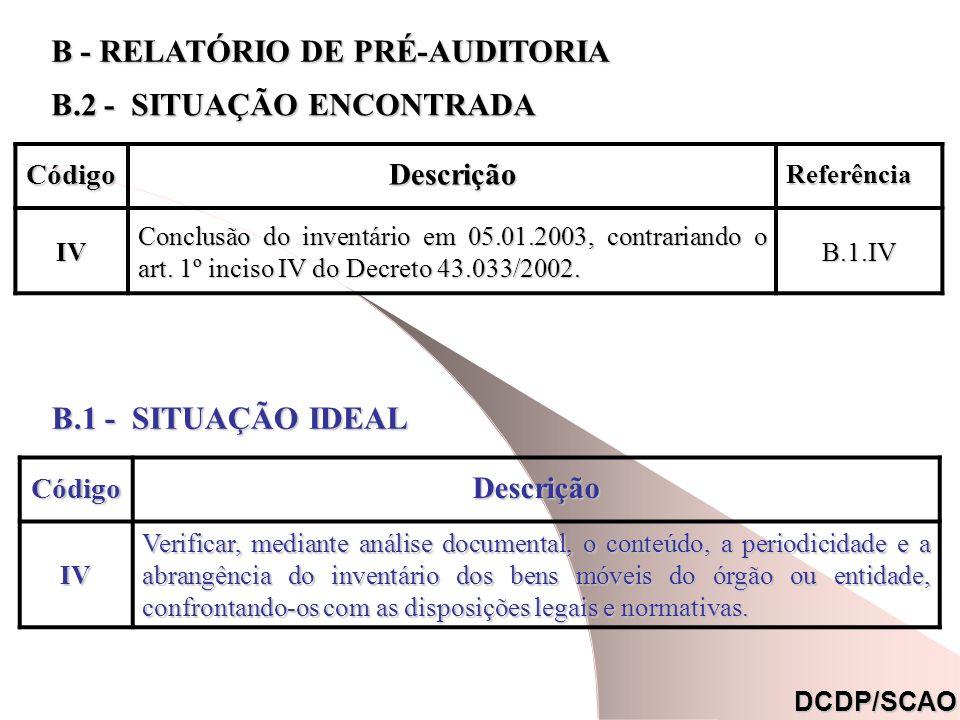 CódigoDescrição Referência Referência. IV Conclusão do inventário em 05.01.2003, contrariando o art. 1º inciso IV do Decreto 43.033/2002. B.1.IV DCDP/