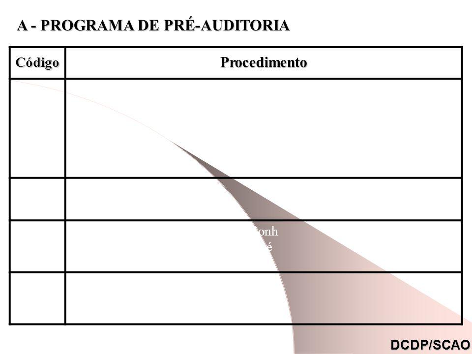 A - PROGRAMA DE PRÉ-AUDITORIA CódigoProcedimento com - pes - con - entr Conh pré do I a i. DCDP/SCAO
