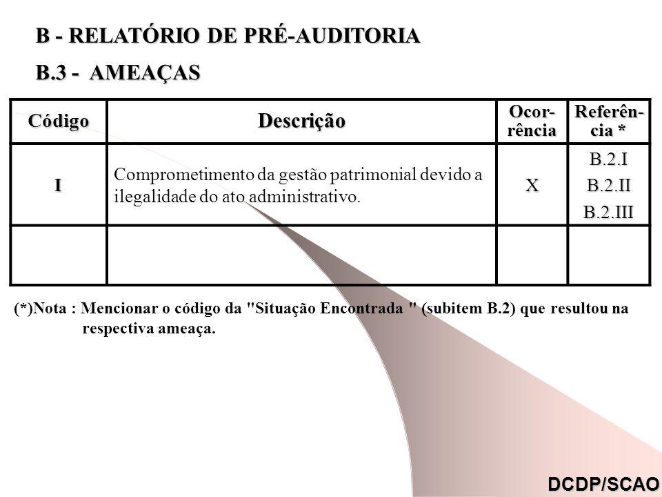 CódigoDescrição Ocor- rência Referên- cia * I Comprometimento da gestão patrimonial devido a ilegalidade do ato administrativo.XB.2.IB.2.IIB.2.III DCD